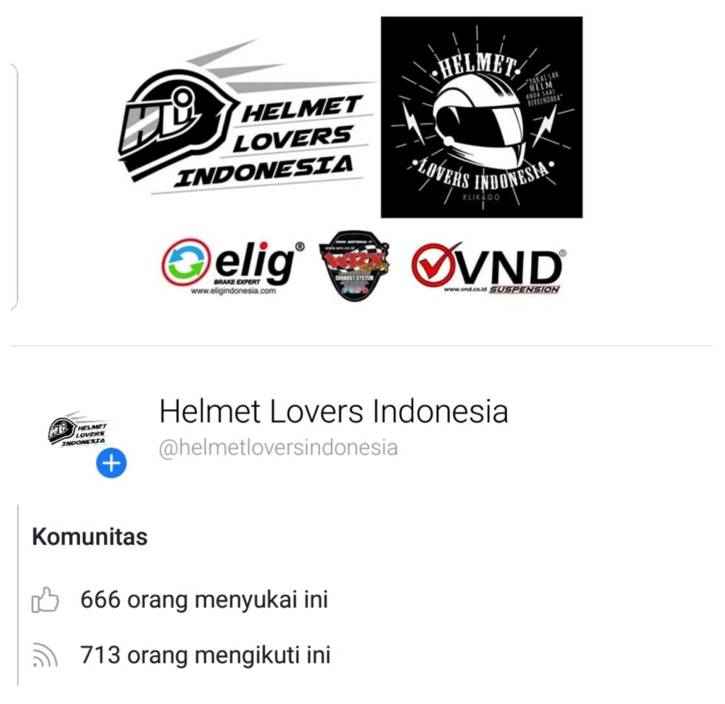 Halaman facebook helmet lovers