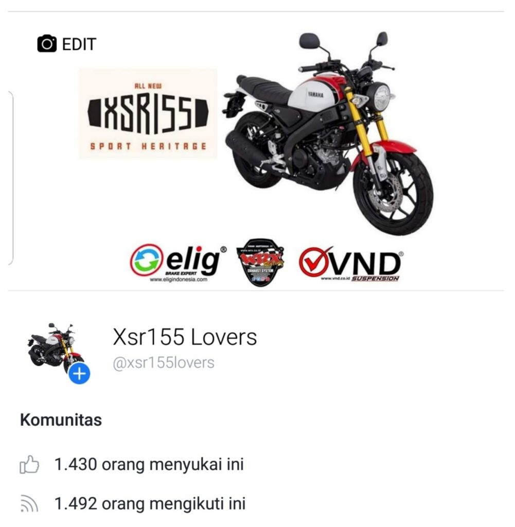 Halaman facebook xsr155 lovers