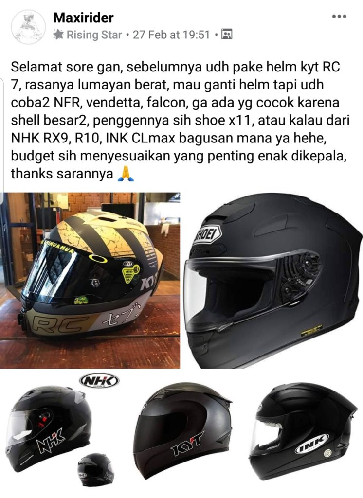 Rekomendasi helm di komunitas helmet lovers