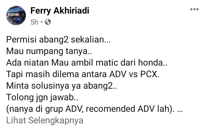 Pilih honda adv atau pcx?