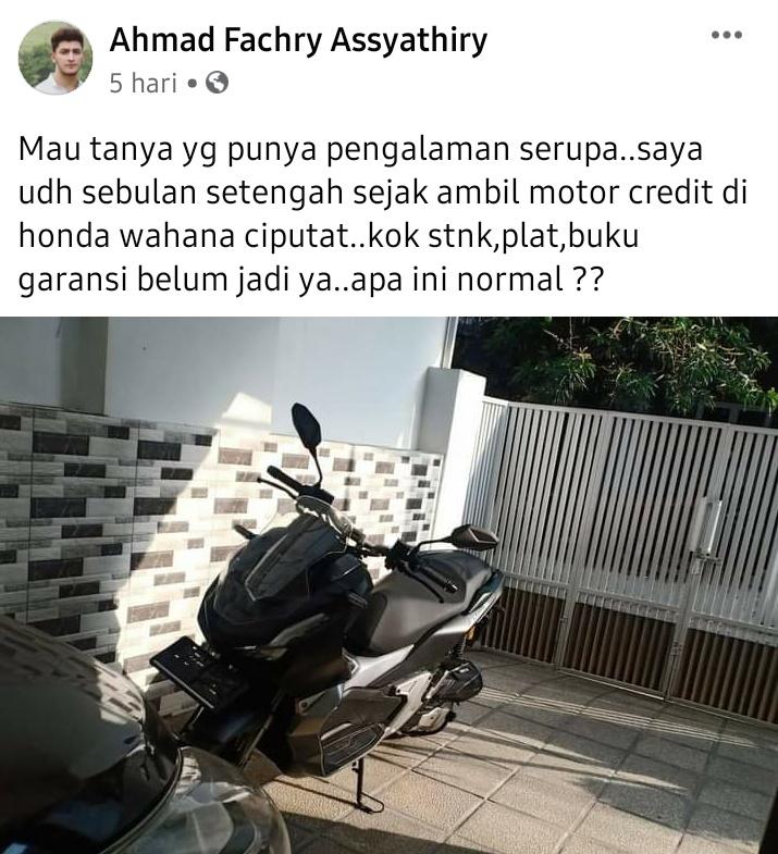Kredit motor tapi belum dapat stnk, pelat nomor