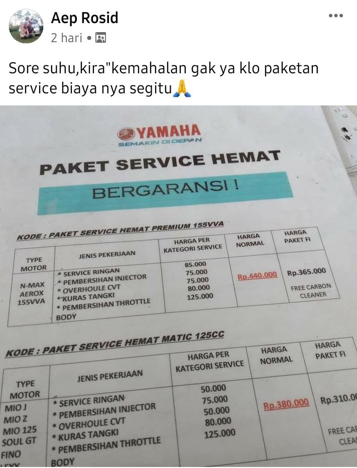 Paket servis motor yamaha