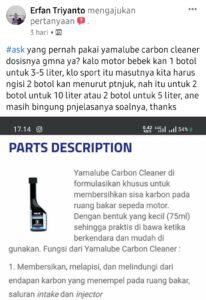 Yamalube carbon cleaner dosisnya?
