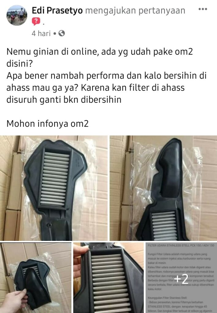 Filter udara stainless steel honda adv 150