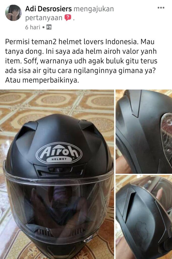 Cara menghilangkan bercak air di helm