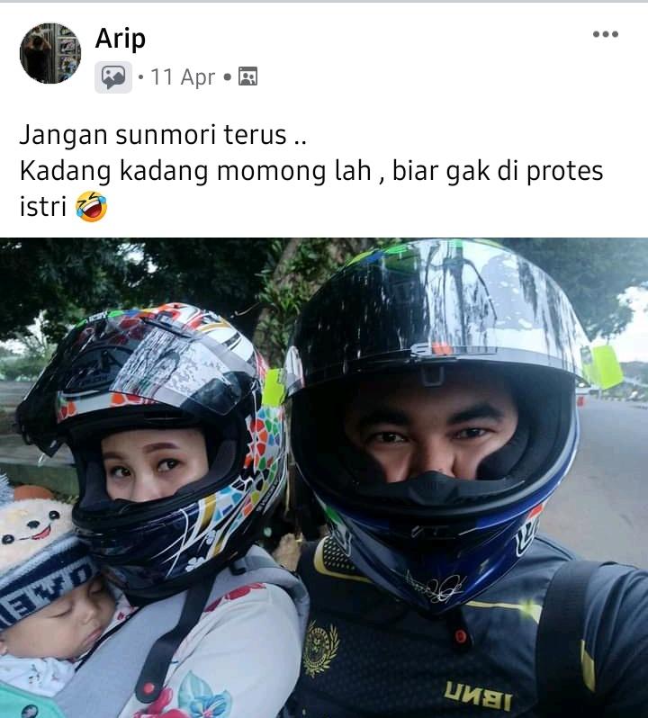 Bikers momong anak isteri