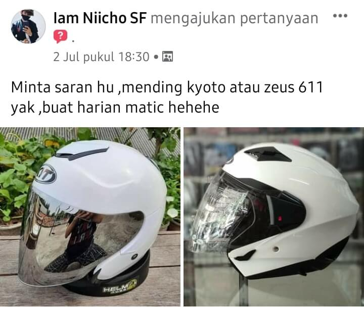 Minta saran pilih helm kyt kyoto atau zeus 611
