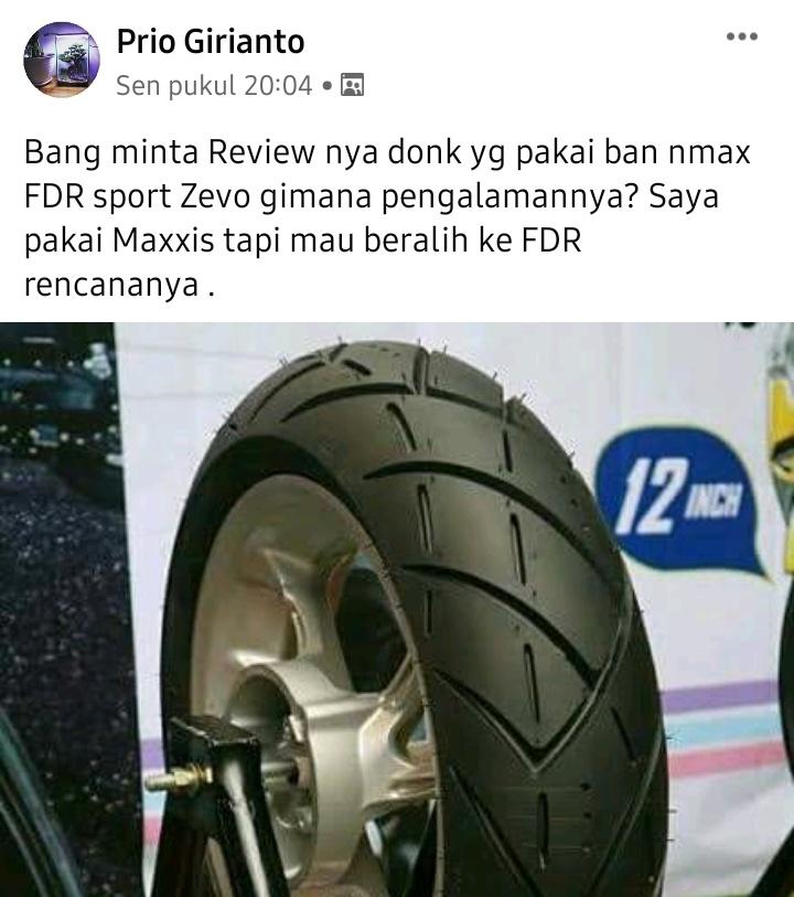 Review ban fdr sport zevo untuk motor yamaha nmax